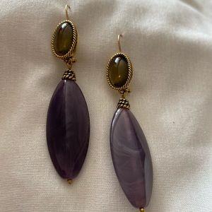 Monet Earrings Gold Tone Purple Dangle